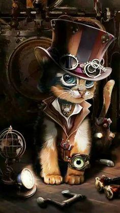 Steampunk cat – Graffiti World Arte Steampunk, Steampunk Artwork, Victorian Steampunk, Steampunk Wallpaper, Cat Wallpaper, Animal Wallpaper, Steampunk Illustration, Halloween Illustration, Steampunk Animals
