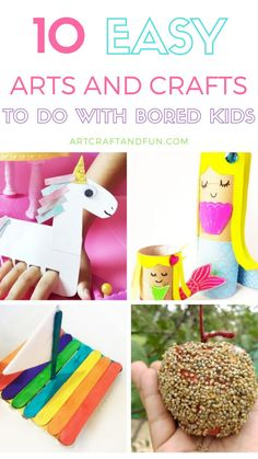 This list of 10 Easy Arts and Crafts to do at home with kids is just the thing you need to keep your kids entertained! Perfect for bored kids. All you need is some simple craft materials already lying around the house! Seahorse Crafts, Crab Crafts, Mermaid Crafts, Unicorn Crafts, Bird Crafts, Fun Crafts, Crafts For Kids, Easy Crafts To Make, Easy Arts And Crafts