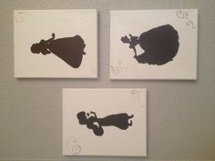 Silhouettes of disney princesses painted onto canvases. My niece will be such a little princess herself :)