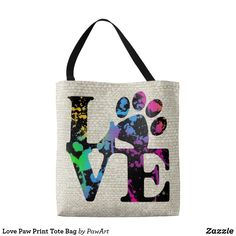 Shop Love Paw Print Tote Bag created by PawArt. Paw Print Art, Printed Tote Bags, Dog Park, Dog Lover Gifts, All Dogs, Dog Mom, Rescue Dogs, Cat Lovers, Reusable Tote Bags