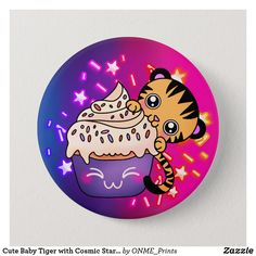 Cute Baby Tiger with Cosmic Star Cupcake Button #Onmeprints #Zazzle #Zazzlemade #Zazzlestore #Zazzleshop #Zazzlestyle #Cute #Baby #Tiger #Cosmic #Star #Cupcake #Button Star Cupcakes, Rainbow Sprinkles, Tiger Stripes, Baby Cartoon, Purple Roses, Kawaii Cute, Custom Buttons, School Fun, Cute Designs