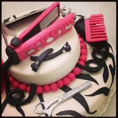 Hairstylist cake ♥ scissors, comb, straightener, clips made out of fondant!  #cake #stylish