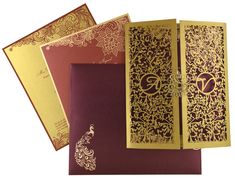 D-7136, Red Color, Shimmery Finish Paper, Laser Cut Cards, Hindu Cards.