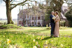 In front of the 200 year old spanish chestnut trees with the hour in background. @Huntsham Court #bestweddinglocation -www.huntshamcourt.co.uk