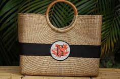 Large Becky Basket With The Custom Coral Letter Monogram Black And White Ribbon, New York Black And White, Monogram Gifts, Monogram Letters, Straw Handbags, Straw Tote, Unique Bags, Hand Weaving, Best Gifts