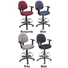 CONTOURED COMFORT DRAFTING OFFICE CHAIR WITH ARMS & CHROME FOOT REST