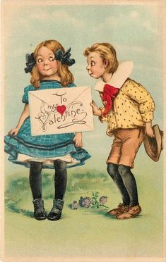 girl left, boy right, boy holds package which reads TO MY VALENTINE