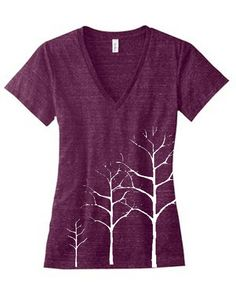 Items similar to Womens WINTER TREE Deep V Neck Tee  S M L XL on Etsy