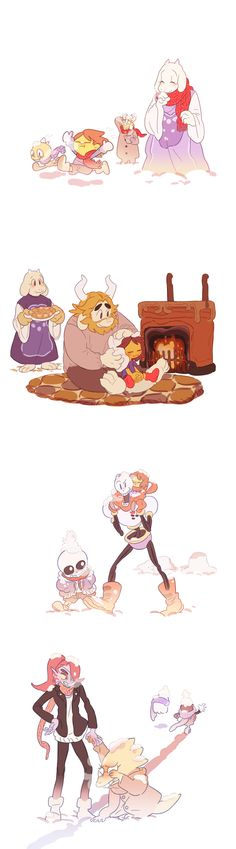 Frisk with Toriel, Asgore, Sans, Papyrus, Undyne, and Alphys - http://mel12da.tumblr.com/post/134004435225/the-first-snow