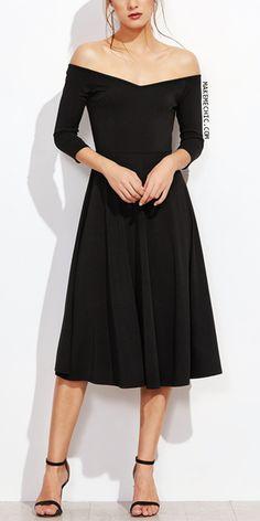 Black Off The Shoulder Zipper Back A Line Dress