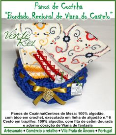 """Kitchen cloth and Rag Basket, with """"Typical north portuguese Valentine's scarf"""" stamped, with crochet beak (100% cotton thread).Basket decorated with typical fantasy filigree heart of North Portugal."""