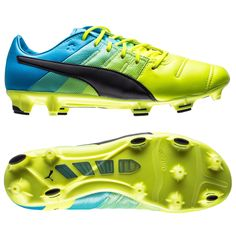 d700181a4a33 New PUMA EvoPOWER 1.3 Leather FG Mens Soccer Cleats   Yellow   Blue