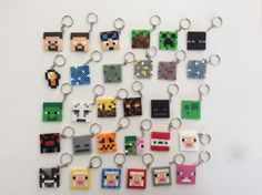 25 x Minecraft Inspired Keychains / Keyrings perler beads by NinjaMonkeys