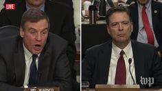 Mark Warner, James Comey | Live: Former FBI Director James Comey Testifies Before Congress (2017 broadcast) via Washington Post (YouTube channel)