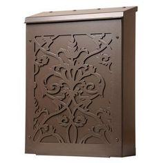 Shadowbox Victorian Damask Vertical Wall Mount Mailbox in Dark Bronze by Blink Manufacturing. $145.00