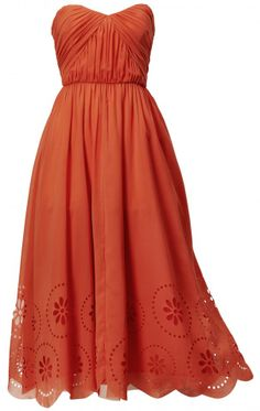 Sundress | This entrance-making orange strapless sundress is not for the faint of ...