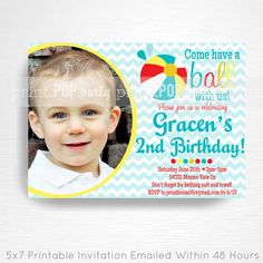 Items similar to Blue Red Yellow Beach Ball Birthday Party Printable Photo Invitation YOU Print with photo on Etsy Beach Ball Birthday, Gymnastics Birthday, Ball Birthday Parties, Boy Birthday, Birthday Ideas, Photo Invitations, Printable Invitations, Party Printables, Boy Party Favors