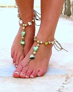 Barefoot Sandals Barefoot Beach Jewelry Green Seashells Hippie Sandals Foot Jewelry Toe Thong. $20.00, via Etsy.