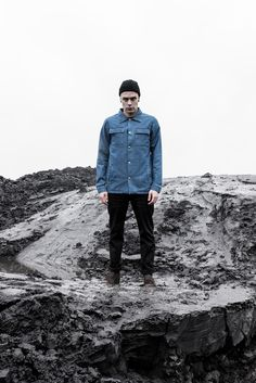 The Hive OVERSHIRT JACKET IN WASHED BLUE