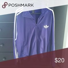 Adidas zip up jacket Purple & white adidas jacket worn once and then put in a closet 100 % polyester in great condition Adidas Jackets & Coats