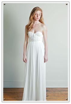 simple clean strapless white wedding dress