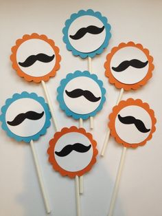 Any Color 12 Mustache Cupcake ToppersLittle Man First BirthdayBaby Showers