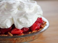 Strawberry Pretzel Pie from Pioneer Woman.  Very similar to the strawberry pretzel jello that I make, but with a few interesting sounding differences.