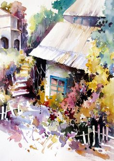 """Love how this is incredibly """"simple"""" in some aspects! Blots, maybe some masking for the fence? nice Watercolor on Arches Paper 14 x unframed by Rae Andrews Watercolor Landscape, Watercolor Illustration, Watercolour Painting, Watercolor Flowers, Landscape Paintings, Watercolours, Watercolor Artists, Watercolor Architecture, Arches Paper"""