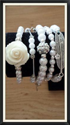 5-strand pearl and silvertone beaded stretch bracelet door BijouByMe op Etsy