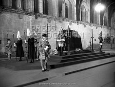The body of King George VI lying in-state in Westminster Hall before his funeral, 1952.