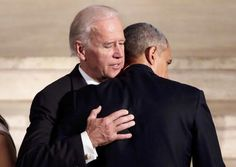 June 6, 2015 President Obama, right, hugs Vice President Biden during Beau Biden's funeral. (Yuri Gripas/Reuters)