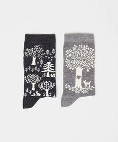 Pack of tree pattern socks - OYSHO