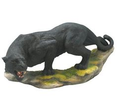 13.25 Inch Prowling Black Panther Statue Wild Animal Sculpture Figure Figurine