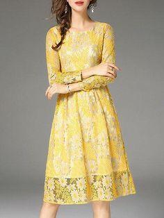 #BFCM #CyberMonday #PopJulia - #PopJulia Yellow Long Sleeve Guipure Lace Crew Neck Dress - AdoreWe.com