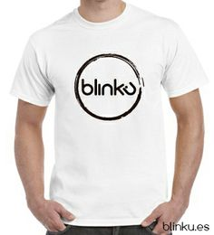 Camiseta para hombre : Color white, diseño Blinku 2 serigrafiado en tinta color black.
