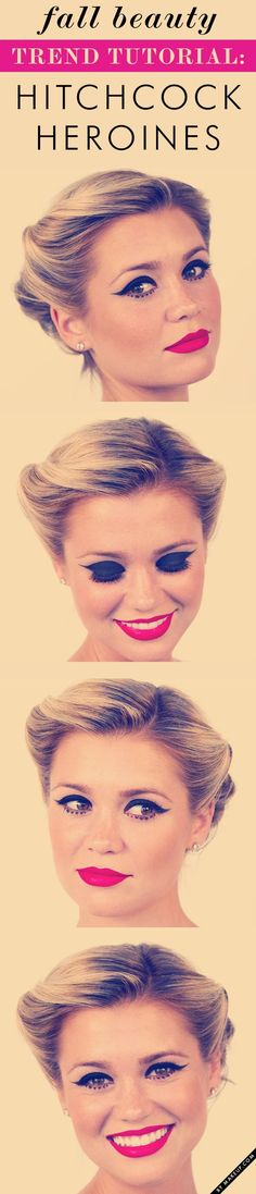 how to create a classic hitchcock heroine makeup look. such great halloween inspiration!