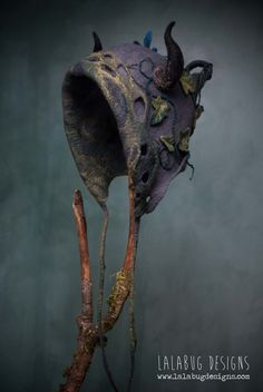 hand-felted ivy goblin hood by lalabugdesigns Wet Felting, Needle Felting, Felt Hat, Wool Felt, Fascinator, Fairy Clothes, Fairy Dress, Fantasy Costumes, Christmas Hat
