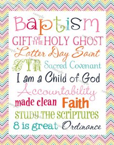 LDS Girl Baptism Subway Art by TamiRayCards on Etsy, $5.00