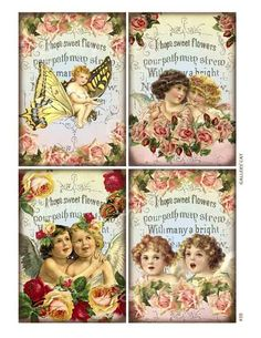 Vintage Cherubs and Roses Digital Collage Sheet by GalleryCat