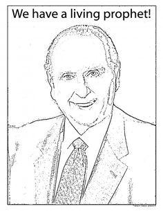 Mormon Share President Monson Coloring Sheet