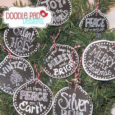 Wooden Chalkboard Ornaments  set of 8 by doodlepaddesigns on Etsy, $24.95