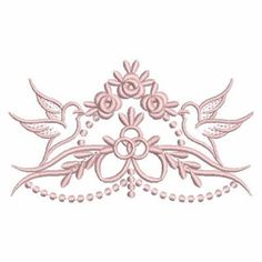 Ace Points Embroidery Design: Christening Heirloom Doves 2.60 inches H x 4.48 inches W