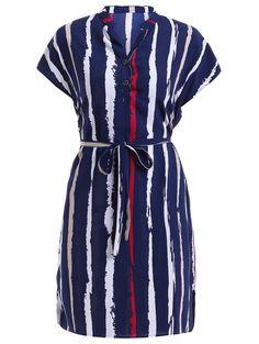 V-neck shirt sleeve dress