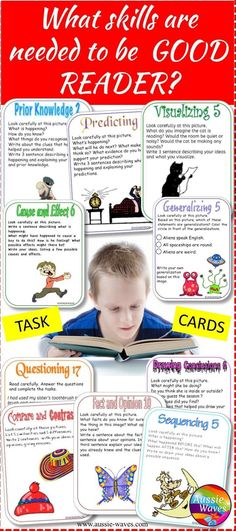 Teach kids how to read and understand with this fun BUNDLE of task cards and anchor charts.
