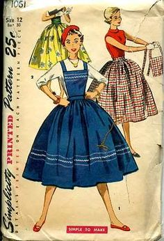 Bib skirts in the 50's, especially black watch plaid