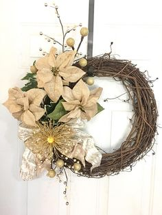 Christmas Wreath, Holiday Wreath, Christmas Decor, Rustic Christmas Wreath, Burlap Poinsettia, Gold Christmas Decor, Pine, Christmas Ornaments This burlap poinsettias wreath with gold ornaments and berries on a grapevine is perfect for your door or inside your house this christmas.