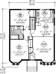 This house plan features two bedrooms and a bathroom.