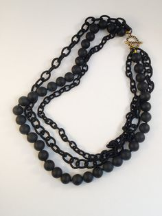 Matt onyx bead & nylon chain multi layered necklace by LovesAvenue