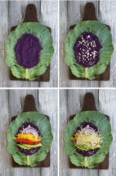 Purple Sweet Potato Collard Wraps with Cashew Honey Mustard Sprouting Sweet Potatoes, Cubed Sweet Potatoes, Purple Sweet Potatoes, Vegan Vegetarian, Vegetarian Recipes, Onion Sprouts, Raw Food Recipes, Healthy Recipes, Vegan Wraps