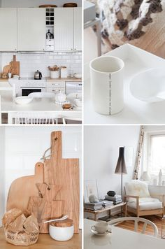 Love the cutting boards. That ikea chair in the bottom corner will be a reading chair at the cottage. White Tile Backsplash, White Tiles, Slow Design, Home Design, Design Ideas, White Wood Kitchens, Wood Cutting Boards, Wooden Boards, Country House Design